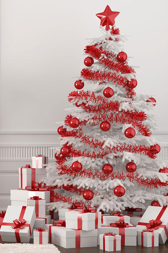 red and white tree - Images Of White Christmas Trees Decorated