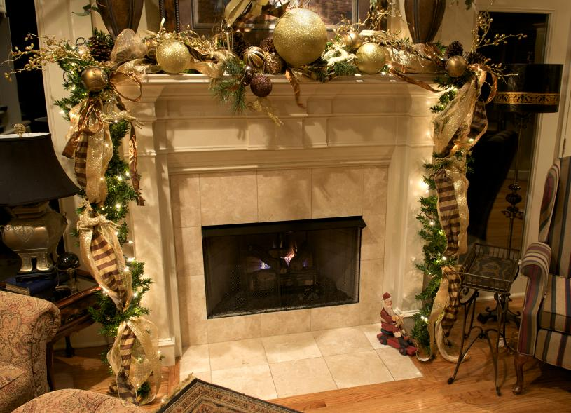 elegant gold mantel - Pictures Of Mantels Decorated For Christmas