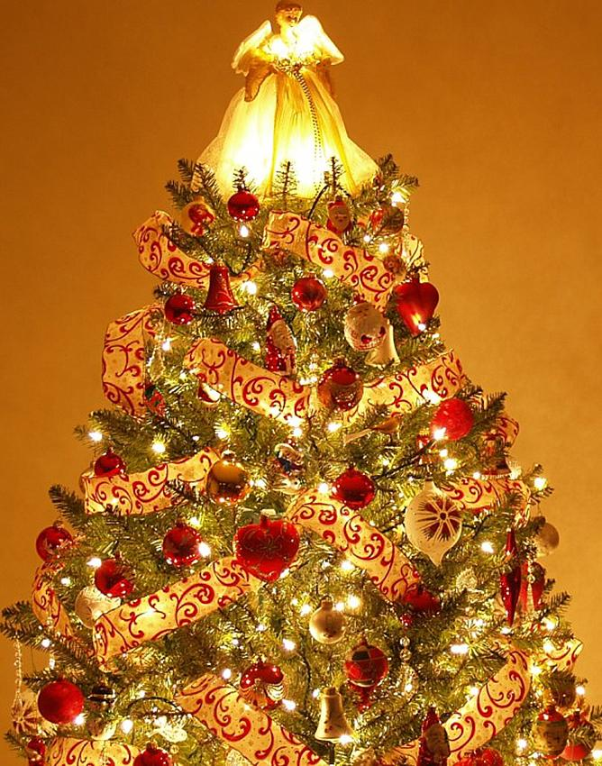 red ribbon and gold tree - Photos Of Christmas Trees Decorated With Ribbon