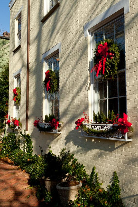 christmas window boxes and wreath