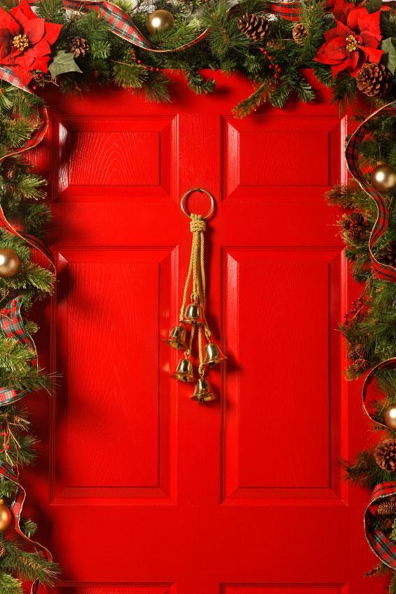 Red Door With Garland And Bells