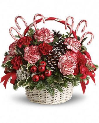 Candy Cane Christmas bouquet by Teleflora   Photo courtesy Teleflora
