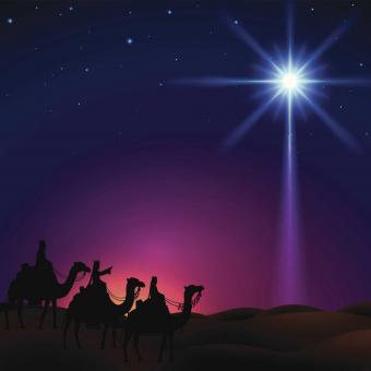Three wise men following Star of Bethlehem