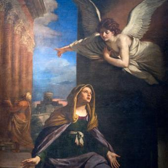 Painting of the angel Gabriel and Mary
