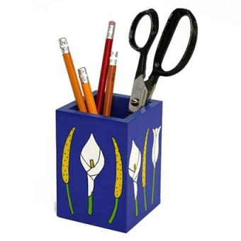 Pencil Holder with Lilies