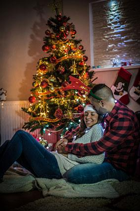 Young couple in Christmas romance