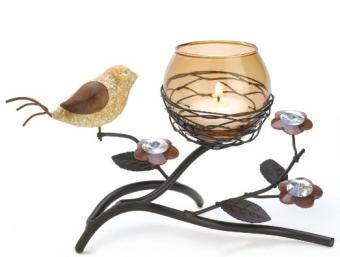 partridge tea light candle holder