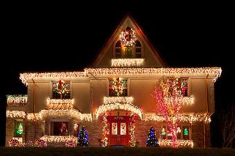 Beautiful home with Christmas lights