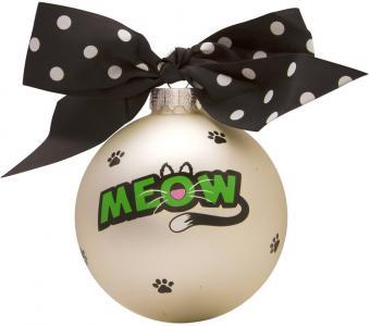 Cat Meow Glass Ball Christmas Ornament