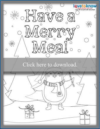 Kids themed Christmas dinner Menu