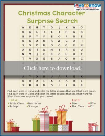 Christmas Character Surprise Word Search