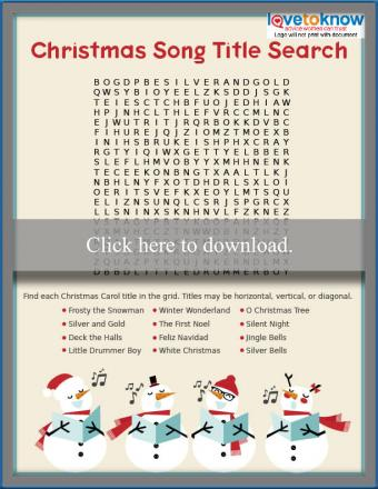 Christmas song title word search
