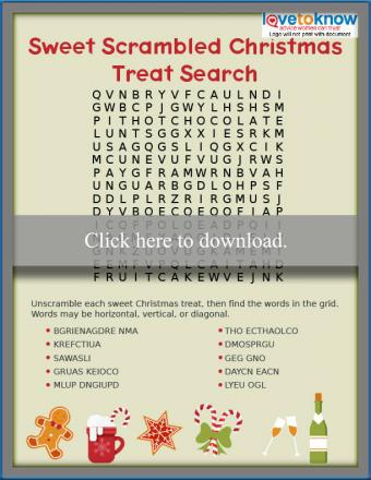 Sweet scrambled treat Christmas word search