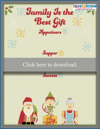 Family printable Christmas menu