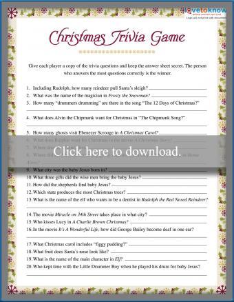 Christmas Trivia Game Printable
