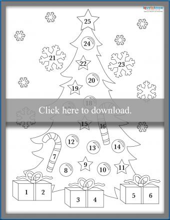 Decorated tree coloring advent page