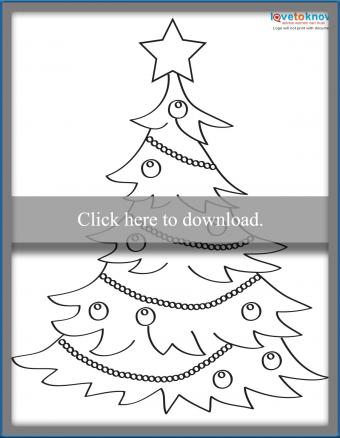 Decorated Christmas tree coloring page
