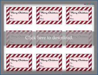 Printable striped Christmas gift tags