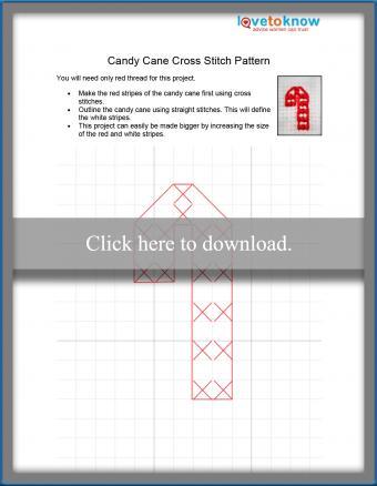 Candy cane cross stitch pattern
