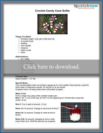 Crochet candy cane softie pattern