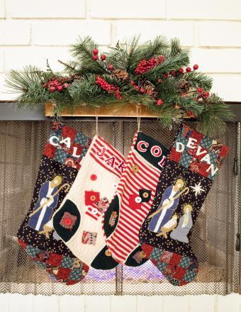 Christmas stockings hanging on fireplace