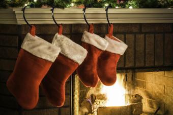 Christmas Stockings hung on Mantel,