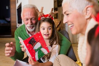 Grandparents reading Christmas card