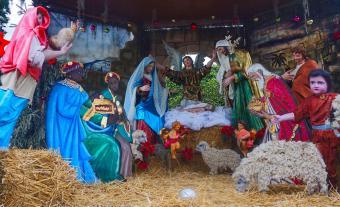 Nativity scene in The Jardin of San Miguel de Allende Mexico