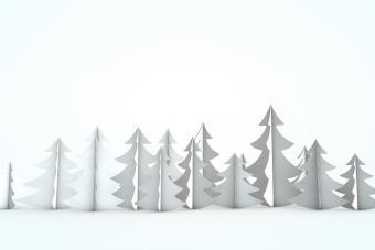 White christmas tree scene