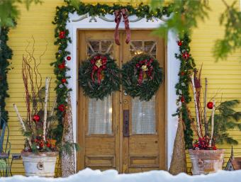 Doors Of A House Decorated For Christmas