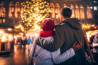 Couple enjoy the decoration on Christmas Market