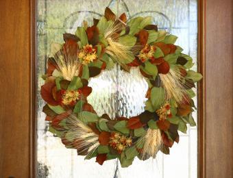 Thanksgiving Wreath Hanging On Front Door