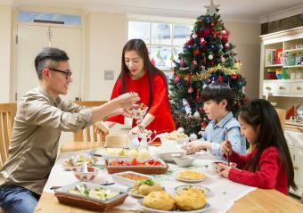 Chinese family enjoying their christmas dinner