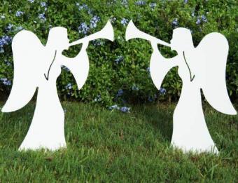 Teak Isle Christmas Outdoor 2-Piece Nativity Angel Set from Amazon.com