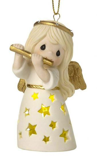 Precious Moments Make A Joyful Noise LED Lighted Angel With Flute Bisque Porcelain Ornament