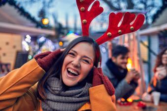 Woman wearing Reindeer antlers On Her Head