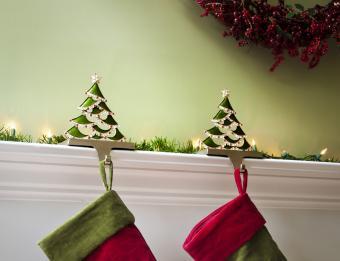 Christmas stockings hung on the fireplace mantel