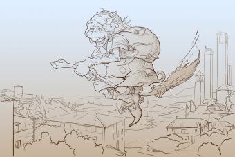 La Befana flying over San Gimignano