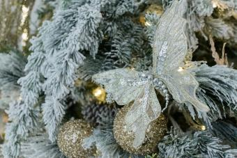 Butterfly ornament on Christmas tree