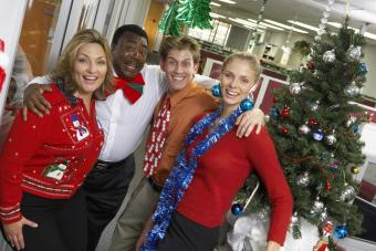 Businesspeople at Christmas party