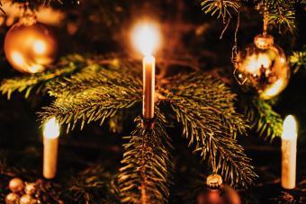 Lit Candles And Christmas Tree