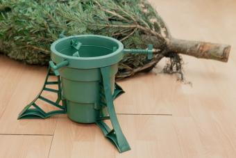 Christmas tree lying on the floor