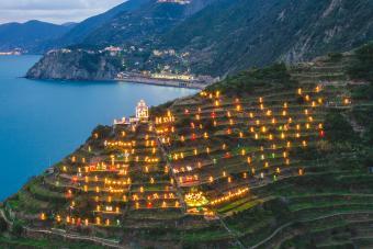 The world biggest presepe on the hills of Manarola, Cinque Terre, Ligurian coast, Italy