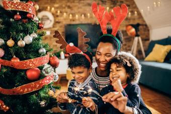 Joyful family celebrating Christmas