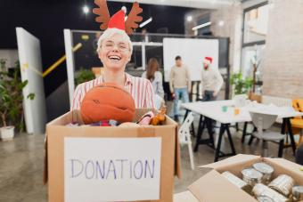 Woman making toy donations