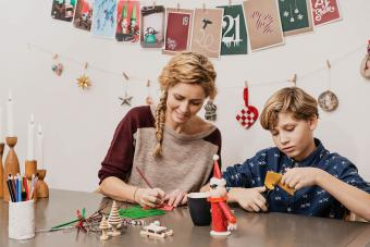 Mother and son making decorations