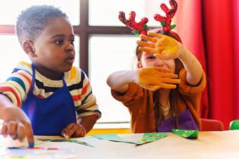 Kids doing homemade decorations for Christmas