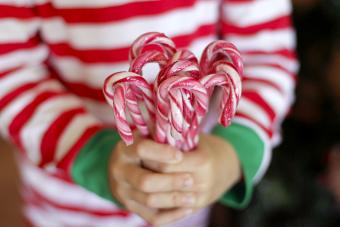 Little hands holding candy canes