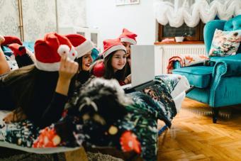 Kids watching christmas movie