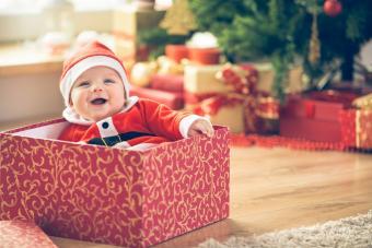 Baby inside a Christmas box